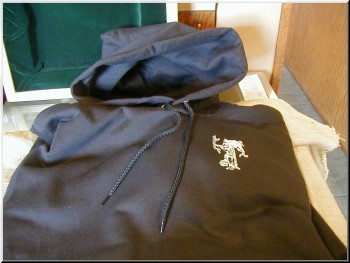 Cigar Clothing Hooded Champion Sweatshirt with Handwarmer Pocket Black with White Imprints, Small.