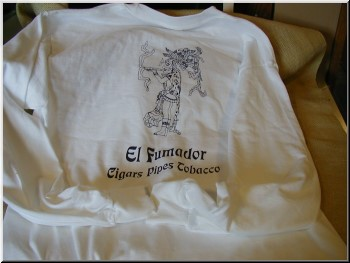 Cigar Clothing White Long Sleever Shirt with Blue Imprints, Small.