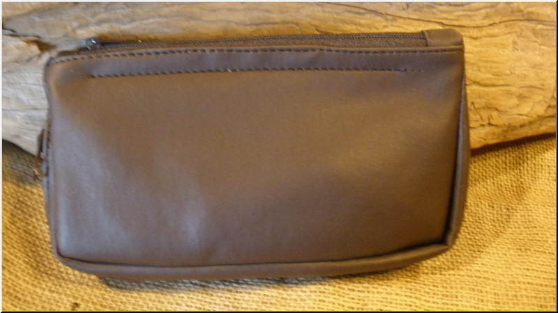 Pipe and Tobacco Bags Combo 1 Pipe, 2 Zip Brown