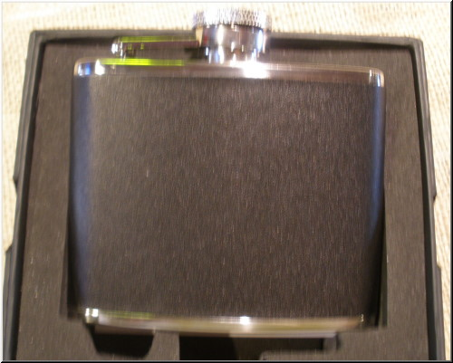 Spirit Flasks Stainless Steel-Black Leather Flask - 4oz