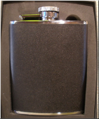 Spirit Flasks Stainless Steel-Black Leather Flask - 6oz