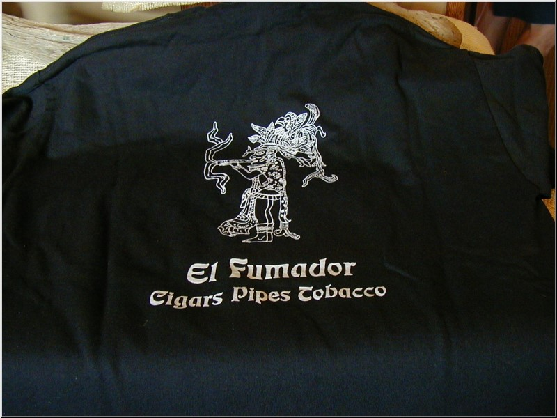 Cigar Clothing Black Hanes T Shirt with White Imprints, Small